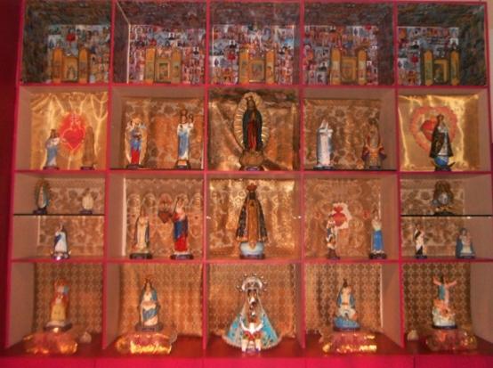 Brazil's patron saint is Nossa Senhora Aparecida, center square, second row from the bottom.