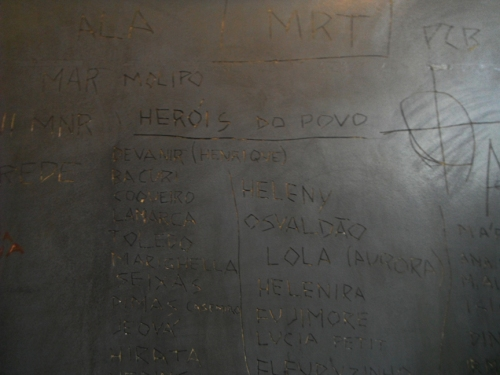 The walls were covered in etched writing, including this list of names entitled The People's Heroes. Some names have additional names in parentheses alongside them, as some had their names changed, or went by an alias.