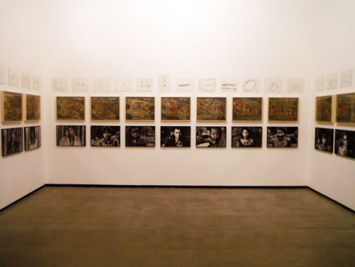 Encounters and Dis-encounters section. The top row is a series of drawings by an indigenous artist. The second row is a series of paintings done by a European artist of indigenous Brazilians during colonial times. The last row is a series of photographs taken by a Swiss- Brazilian photographer during the 1980s when Brazil was taking measures to distribute vaccines. Because this particular tribe do not have any known names, they were given numbers for government records.